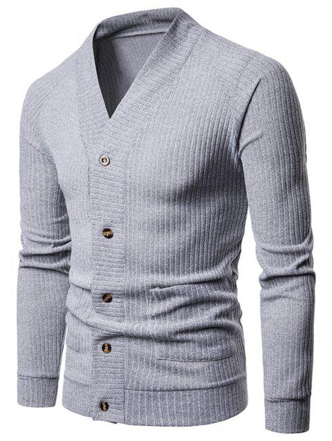 Solid Pocket Button Up Thin Knit Sweater - LIGHT GRAY XS
