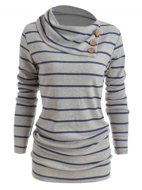 Striped Long Sleeve Button Sweater - GRAY M