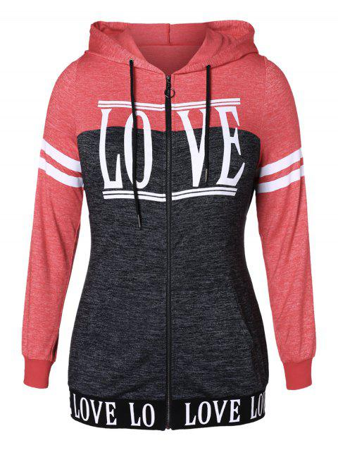 Plus Size Letter Striped Print Zip Jacket - VALENTINE RED 4X