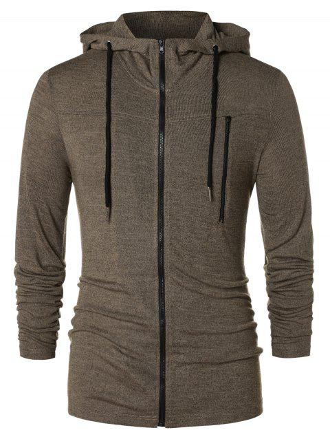 Long Sleeve Zipper Drawstring Hoodie - TAUPE L