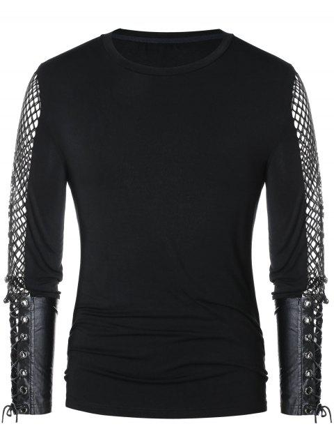 Openwork Lace Up Long Sleeve T-shirt - BLACK M
