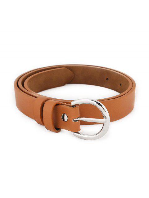 Simple Silver Metal Buckle Artificial Leather Waist Belt