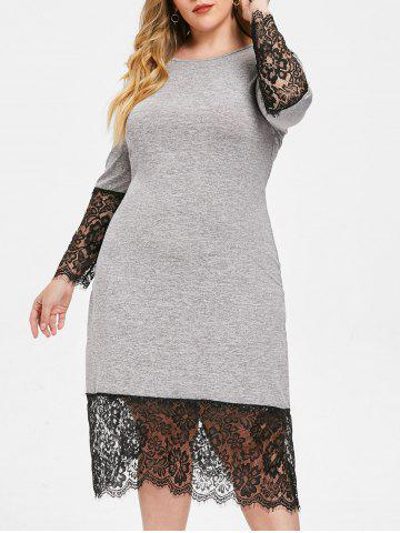 26278382048 Eyelash Lace Hem Plus Size Round Neck Mid Calf Dress
