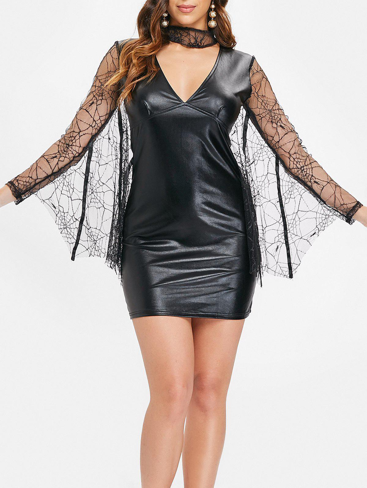 Lace Batwing Faux Leather Mini Dress - BLACK L
