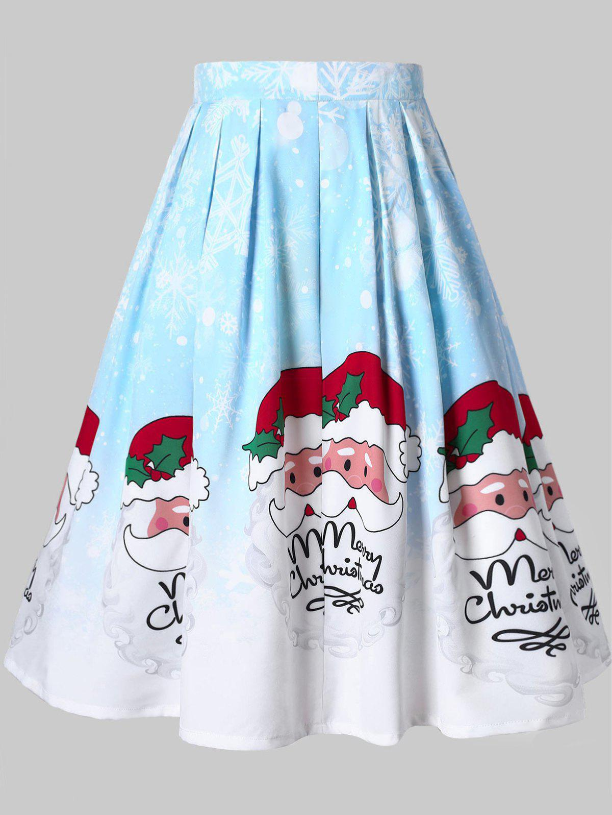 Plus Size Santa Clause Print Christmas Skirt