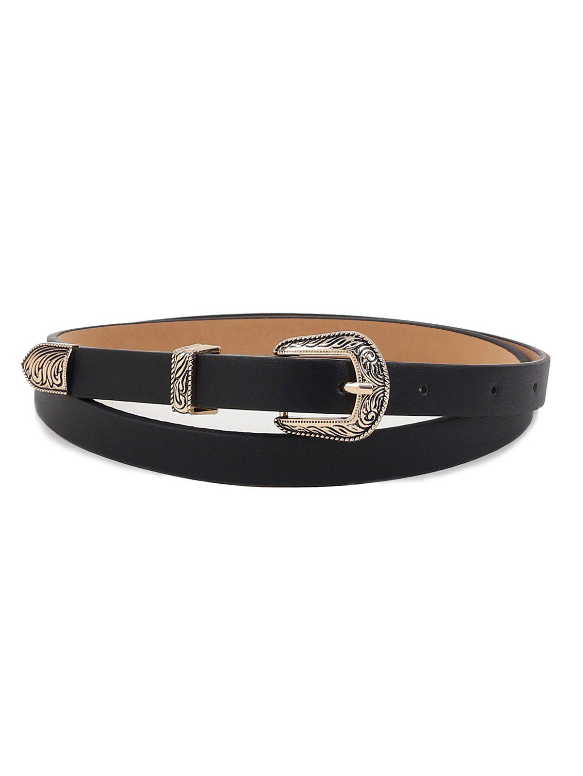 Retro Carving Buckle Faux Leather Dress Belt - BLACK