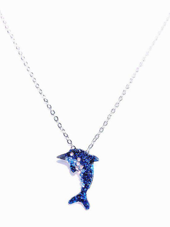 Dolphin Shape Animal Pendant Necklace - BLUE