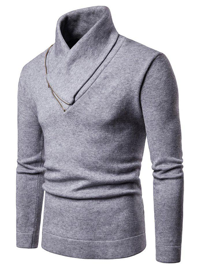Zipper Shawl Collar Solid Elastic Pullover Sweater - LIGHT GRAY L