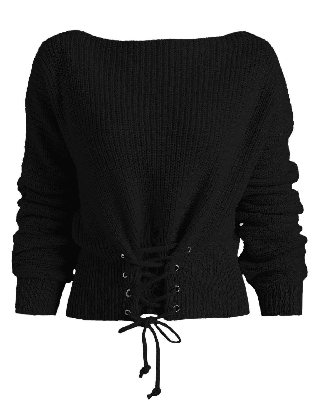 Batwing Sleeve Lace Up Sweater - BLACK ONE SIZE