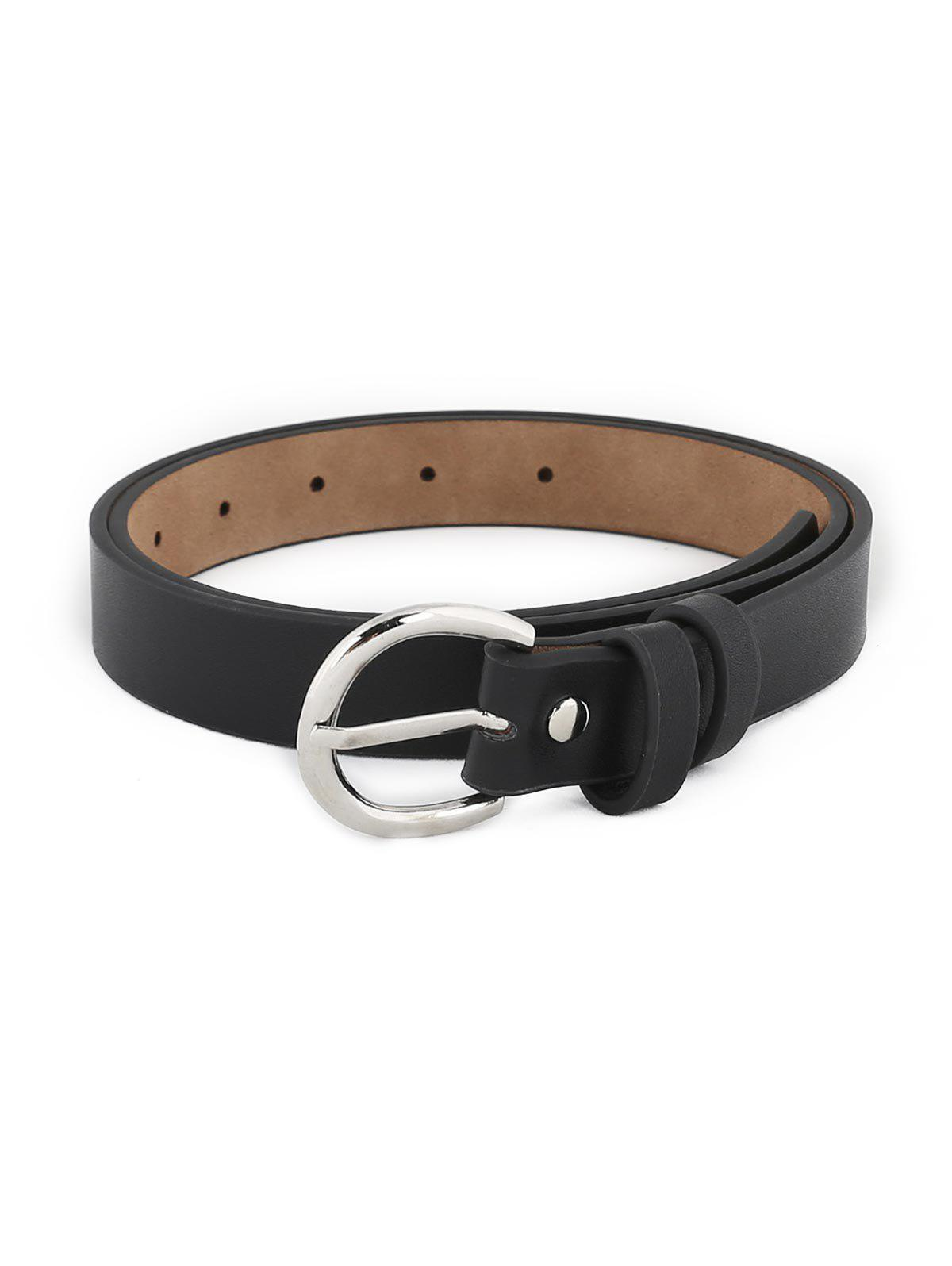 Simple Silver Metal Buckle Artificial Leather Waist Belt - BLACK