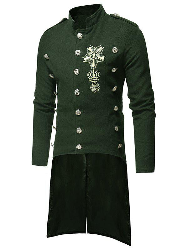 Triple Breasted High Low Hem Embroidery Woolen Coat - ARMY GREEN XS