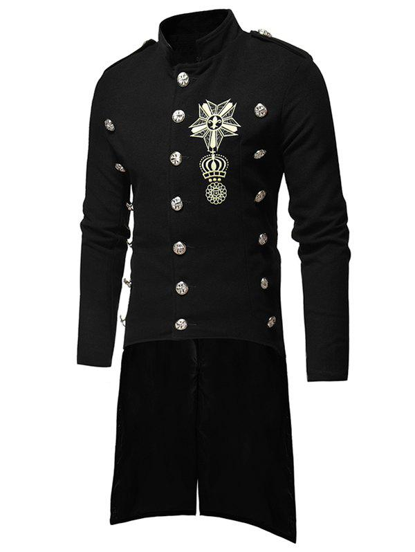 Triple Breasted High Low Hem Embroidery Woolen Coat