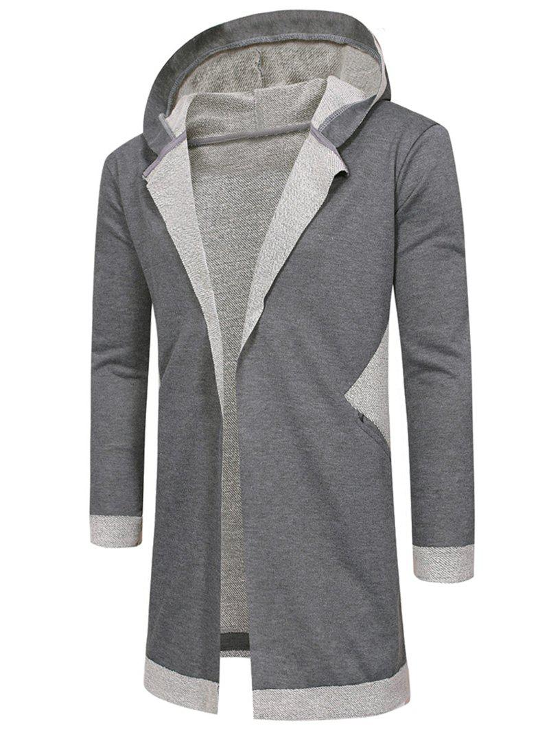Hooded Unbuttoned Long Cardigan - GRAY S