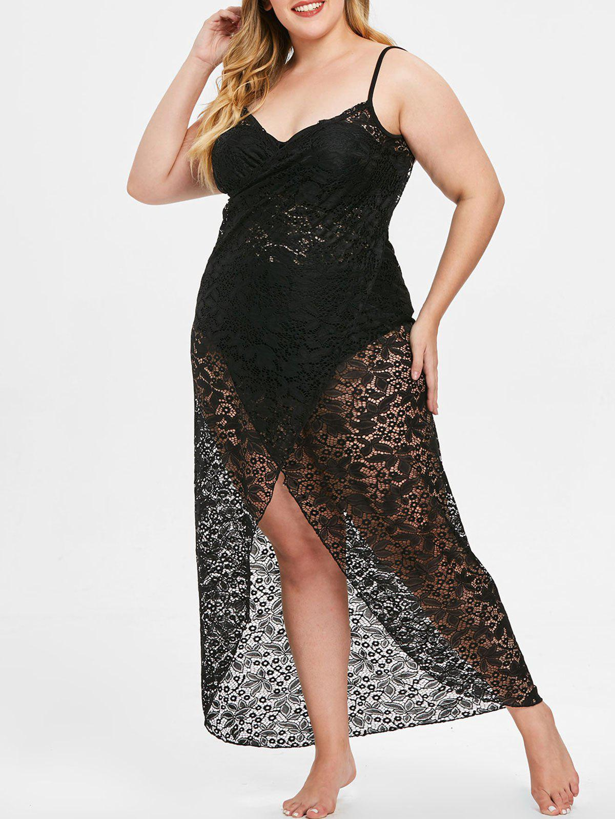 Plus Size Spaghetti Strap Lace Cover Up Dress - BLACK 1X