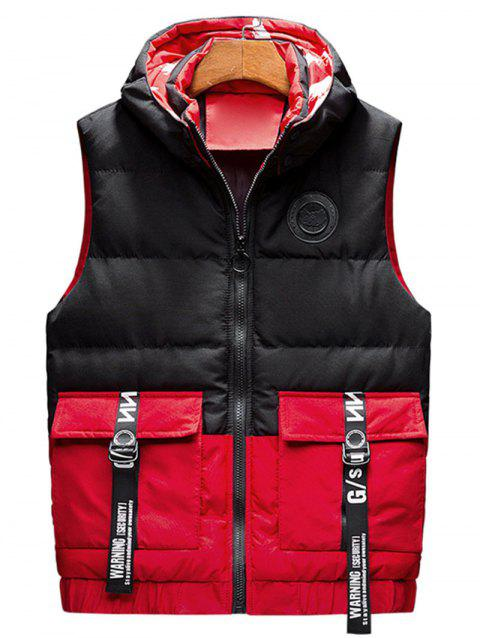 Color Block Letter Stripe Pocket Patchwork Quilted Waistcoat - RED XS