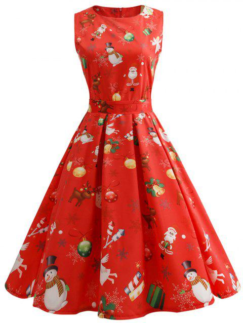 Plus Size Christmas Vintage Printed Flare Dress - RED L