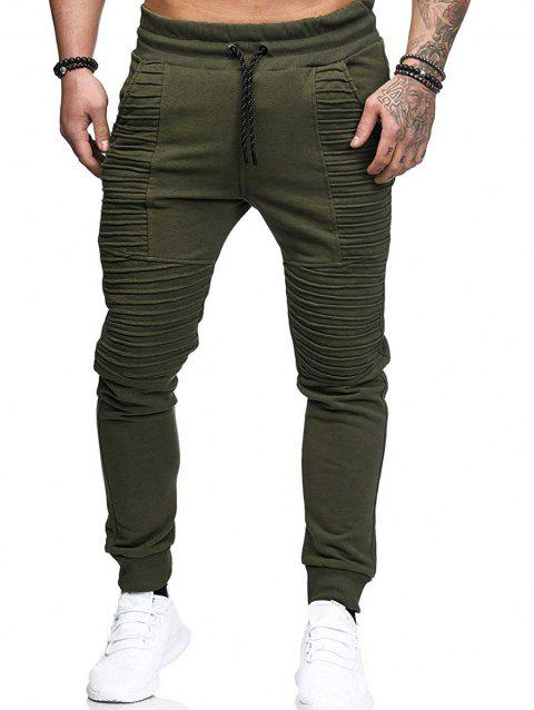 Casual Pleated Design Fleece Jogger Pants - ARMY GREEN M