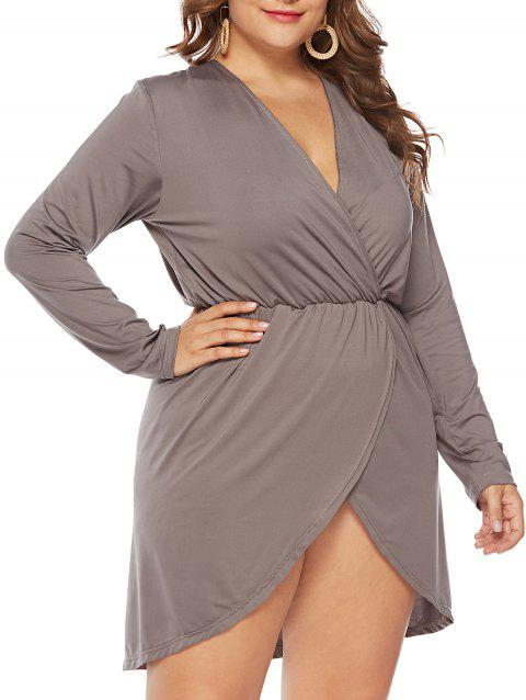 dff20a7d974 LIMITED OFFER] 2019 Plus Size Plunging Surplice Tulip Dress In GRAY ...