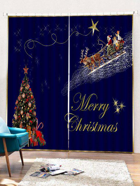 2Pcs Christmas Tree and Flying Deer Window Curtains - multicolor W28 X L39 INCH X 2PCS
