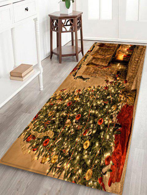 Christmas Fireplace Pattern Non-slip Area Rug - multicolor W24 X L71 INCH