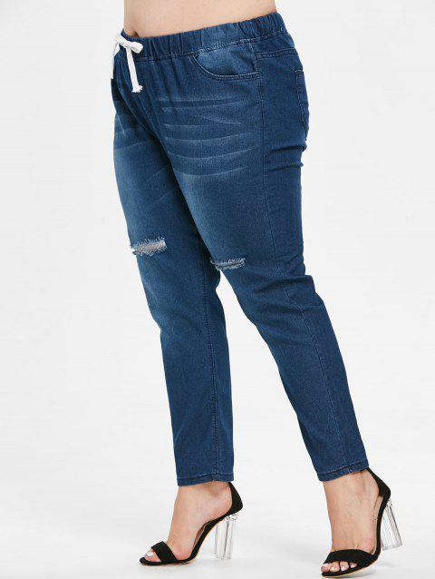 Drawstring Waist Plus Size Ripped Jeans - DEEP BLUE 3X