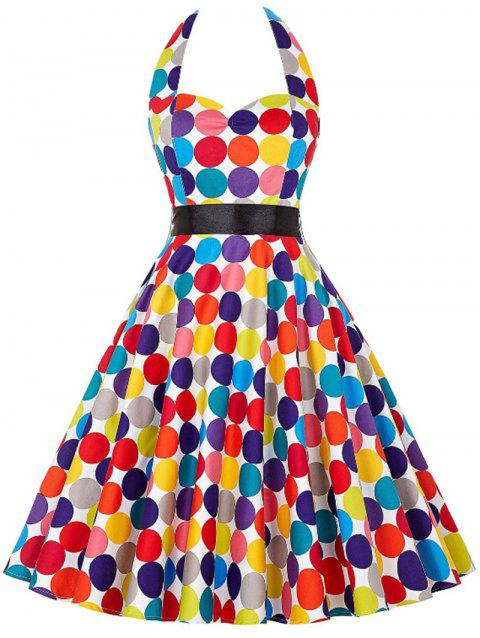 Vintage Halter Rainbow Dotted Pin Up Dress - multicolor S