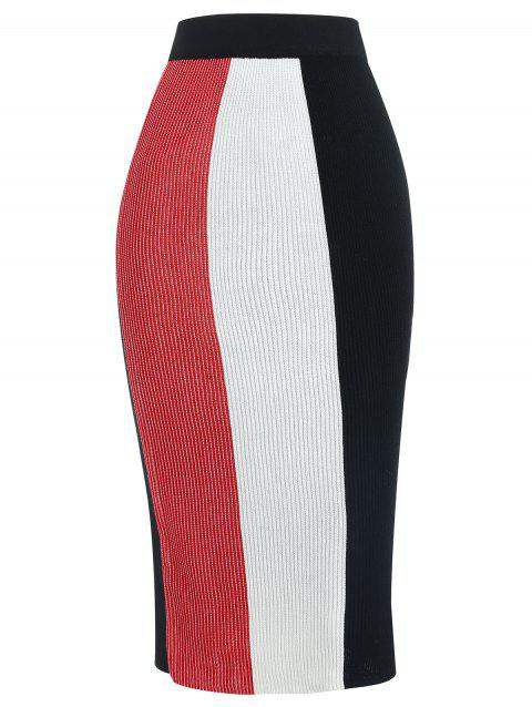 High Waisted Color Block Knit Skirt - RED L