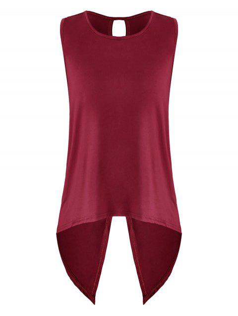 Back Slit High Low Tank Top - RED WINE 2XL