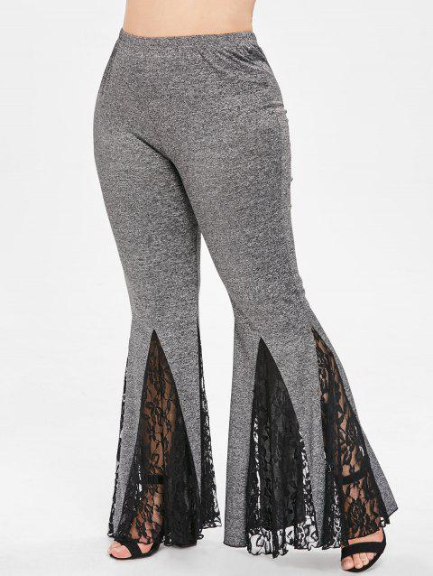 Plus Size High Waist Lace Panel Flare Pants - GRAY 2X