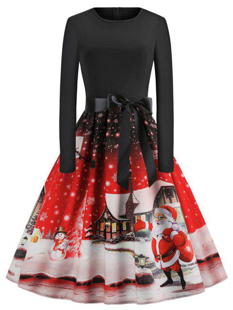 Plus Size Christmas Printed Vintage Flare Dress - RED 3X