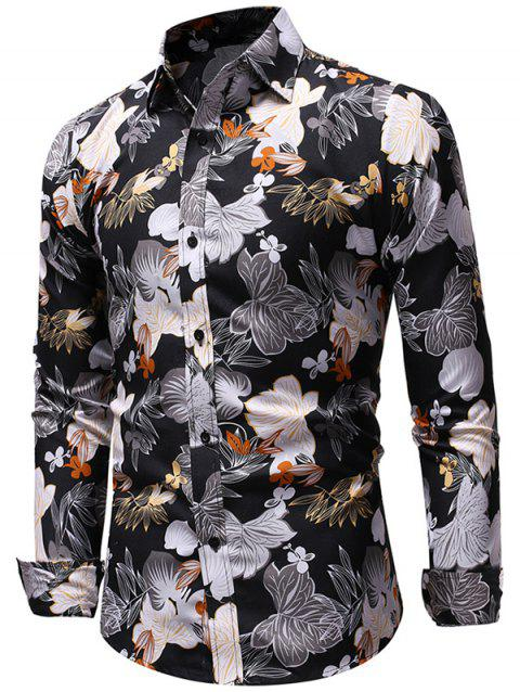 6d2f0dea66c 41% OFF  2019 Allover Flowers Print Long Sleeve Shirt In BLACK ...