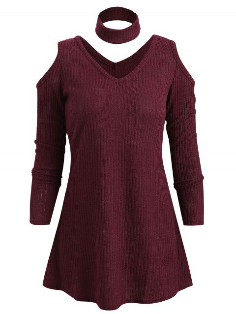 Cut Out Front Cold Shoulder Knitwear - RED WINE M