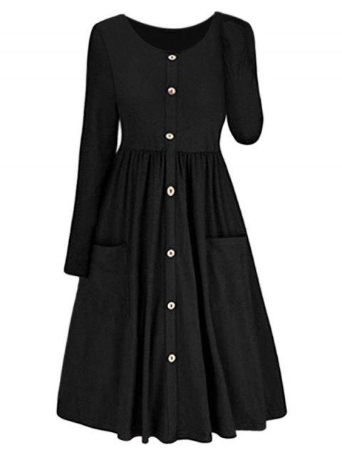 Long Sleeve Button Front Dress - BLACK 2XL
