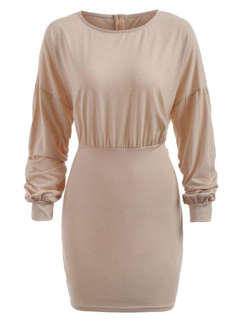 Robe Tricotée Simple à Taille Empire - Beige L
