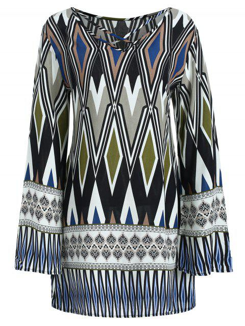 Flare Sleeve Boho Printed Dress - multicolor M