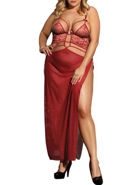 Plus Size Cut Out Lace Panel Maxi Teddy - CHESTNUT RED 3X
