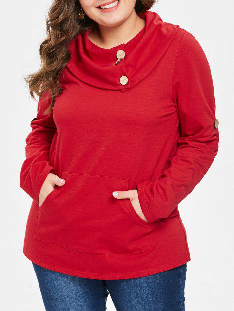 Plus Size Button Embellished Cowl Neck Sweatshirt - RED 5X