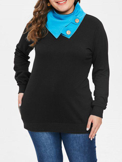 Plus Size Button Embellished Sweatshirt - BLACK L