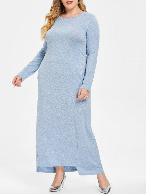 Plus Size Long Sleeve Maxi Dress - BLUE 2X