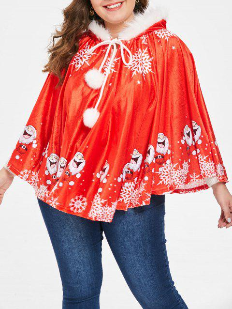 4be64f87f52 17% OFF  2019 Plus Size Christmas Graphic Hooded Cape Coat In RED ...