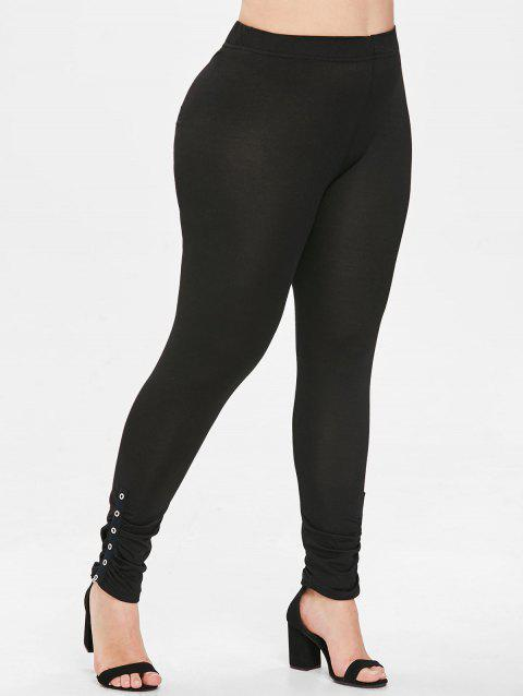 Plus Size Solid Color Leggings - BLACK L