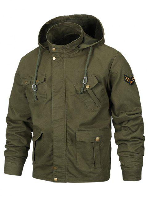 Applique Zipper Casual Hooded Jacket - ARMY GREEN L