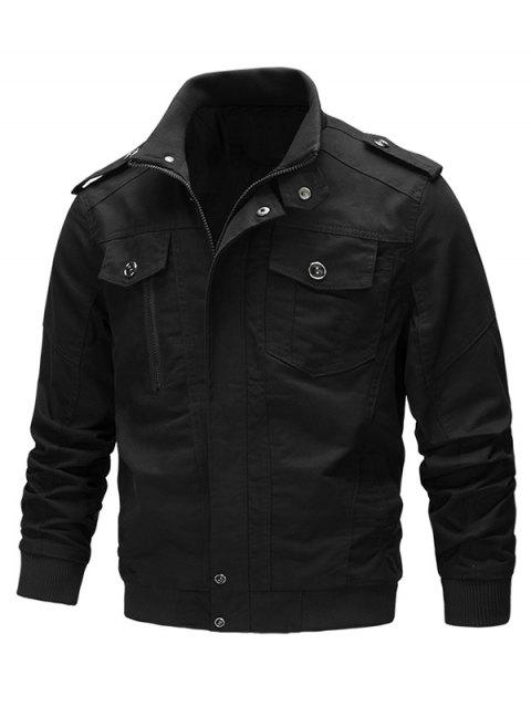 Casual Solid Color Zipper Jacket - BLACK L
