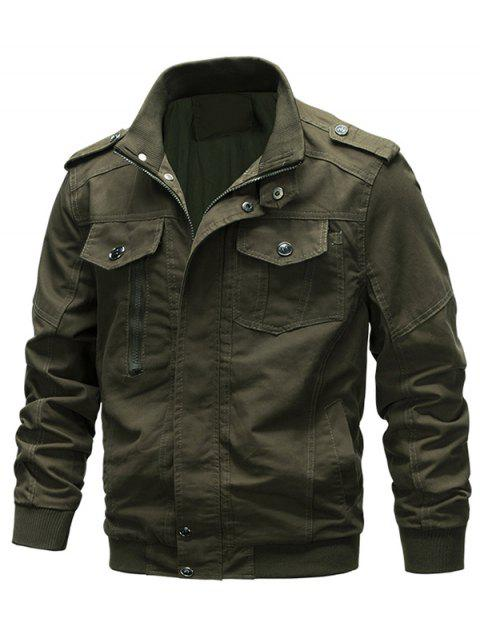 Casual Solid Color Zipper Jacket - ARMY GREEN S