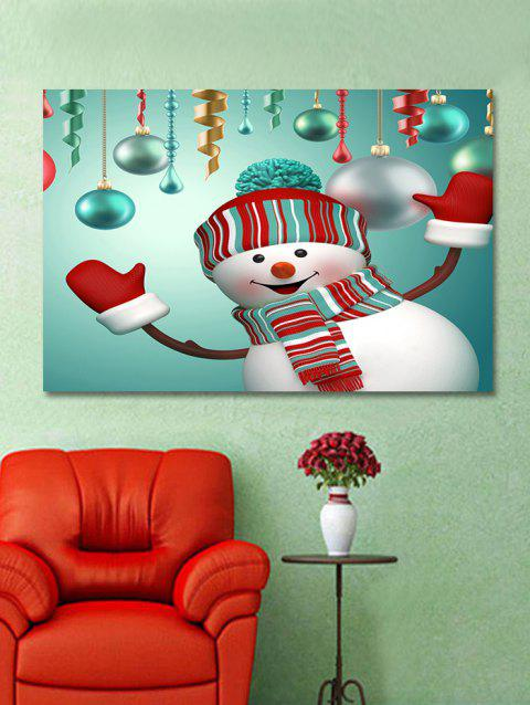 Christmas Snowman Baubles Printed Wall Sticker - multicolor W20 X L27.5 INCH
