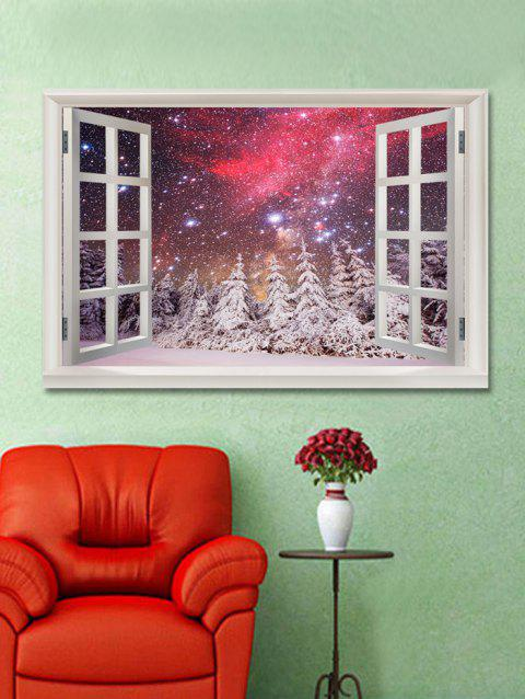 Galaxy Snow Forest Scenery Printed Wall Sticker - multicolor W20 X L27.5 INCH