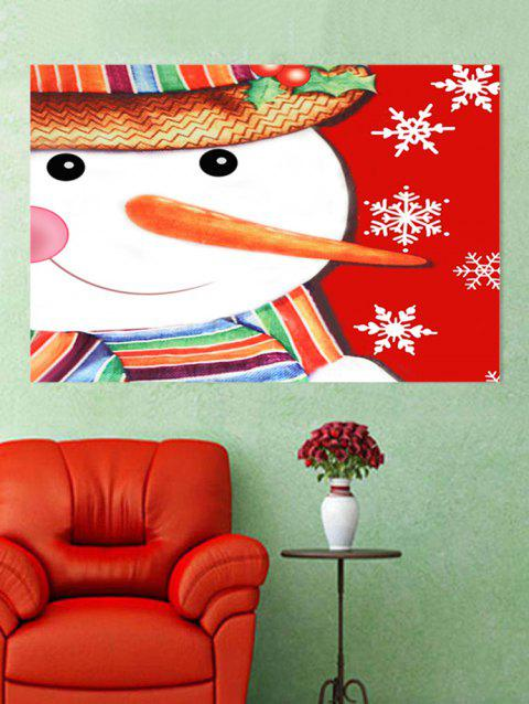 Snowman Snowflakes Printed Christmas Wall Sticker - multicolor W20 X L27.5 INCH