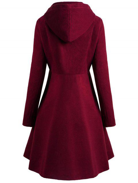 56% OFF] 2019 Plus Size Button Up Flare Coat In RED WINE | DressLily