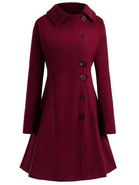 Plus Size Button Up Flare Coat - RED WINE L
