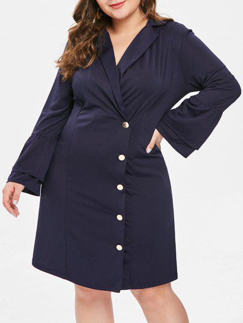 Flare Sleeve Plus Size Button Detail Bodycon Dress - DEEP BLUE 1X